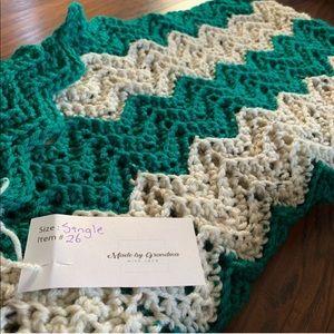 Chevron Crocheted Twin Size Blanket Handmade